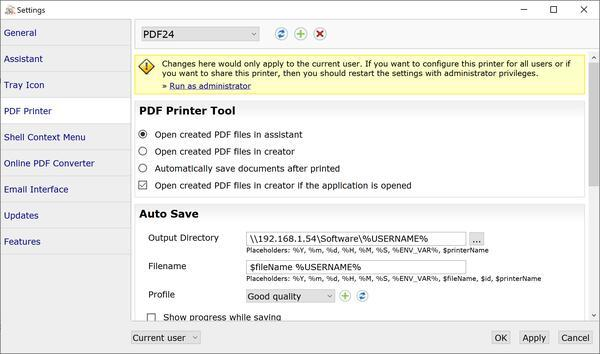PDF24 Printer Settings
